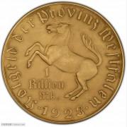 【德藏】德国1923年威斯特法伦一万亿马克铜币大马币