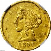 NGC-VF30 Rare 1850 Baldwin & Co. $5 Gold Piece