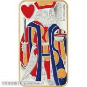 加拿大2009年扑克牌红桃K国王老K精制镀金彩色长方形纪念银币