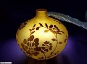 又一对辽金老琉璃蒜头花瓶