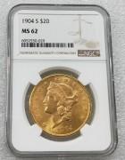 NGC MS62 美国自由女神鹰洋1904-S年20元大金币 33.43克900金好品相