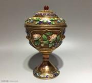 银鎏金 掐丝珐琅彩 镶玛瑙 杯子
