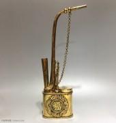 """民国时期 """"福、寿、龙纹""""、银鎏金 水烟壶"""