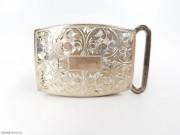 1953年 银质 满雕 忍冬纹 带扣