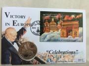 1995年 特克斯凯科斯 二战胜利50周年 5克朗邮币封4枚一套克朗型