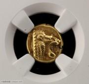 古希腊狮子头琥珀金币NGC评级双5分