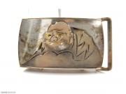 1950年 日本 银质 满雕日本武士 带扣  精品
