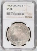 【德藏专卖】英国1900B贸易银币站洋 NGC MS64