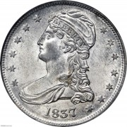 PCGS-MS63 1837 Capped Bust Half Dollar. Reeded Edge