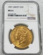 NGC MS61美国自由女神鹰洋1907年20元大金币 33.43克900金 好品相