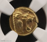 古希腊爱奥尼亚莱兹博斯琥珀金狮子币NGC评级chAU双五分古钱币