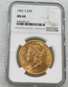 NGC MS60 美国自由女神鹰洋1901年20元大金币 33.43克900金好品相