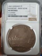 【德藏】德国1843年法兰克福城市景观2泰勒银币 NGC AU