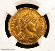 西罗马帝国皇帝瓦伦提尼安一世金币NGC评级精选XF