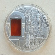帕劳2011年新天鹅堡琥珀镶嵌仿古银币