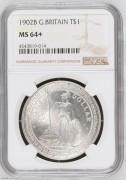 【德藏专卖】英国1902B贸易银币站洋 NGC MS64+