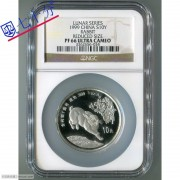1999年兔年生肖1盎司加厚银币NGCPF66分
