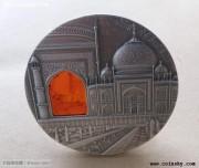 帕劳2014年印度泰姬陵仿古琥珀镶嵌银币