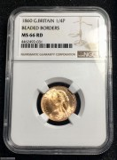 NGC MS66RD Victoria Farthing (1/4 Penny) 1860
