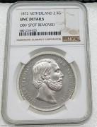 NGC UNC 荷兰1872年威廉三世2.5盾大银币好品