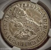 1569-95年神圣罗马帝国上奥地利大公斐迪南二世时期银泰勒,NGC MS-62