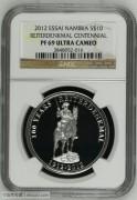 纳米比亚2012年大选帝侯雕像100周年精制纪念银币样币NGCPF69UC分