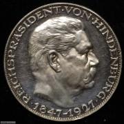 【德藏】德国1927年兴登堡80大寿无D银章