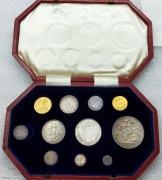 原盒 英国爱德华七世国王首年 1902年 11枚精铸金银币 少见好品相  1.2.3.4.便士 6便士 1.2.先令,1/2克朗.1克朗,银币,PF  1/2镑,1镑金币