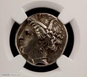 古希腊英雄人物老银币:NGC评级古希腊特洛伊英雄阿贾克斯银币
