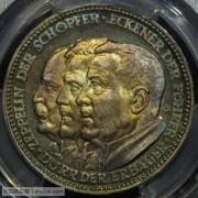 【全能菜鸟】德国1929年齐柏林飞艇环球航行五彩银章