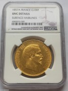 NGC UNC  好品相法国拿破仑三世1857年100法郎大金币 32.25克 900金