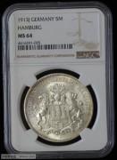 【德藏专卖】德国1913年汉堡5马克 MS64 原光 BU 顶级品相