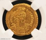 东罗马帝国皇帝提奥多西斯二世金币NGC评级MS级完全未流通