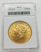 ANACS MS62 美国自由女神鹰洋1904年20元大金币 33.43克900金  经典小白盒