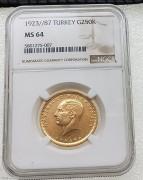 NGC MS64 土耳其国父凯末尔1923年250库鲁大金币18.040克 9170金