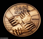 全新 众志成城-战胜疫情紫铜纪念章