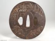 1800 日本 古董刀镡 青龙鎏金 馆藏精品级