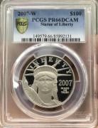 PCGS PR 66 美国2007年100元自由女神1盎司铂金币 31.1克 9995金 发行量 8363枚