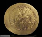 深打未流通拜占庭君士坦丁十世碟形金币-清晰的耶稣基督像