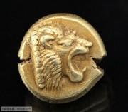 古希腊爱奥尼亚莱兹博斯琥珀金狮子币