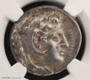 古希腊马其顿亚历山大大帝四德银币-NGC鉴定封盒 在世版