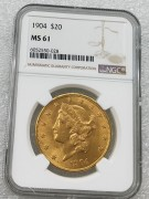 NGC MS61 美国自由女神鹰洋1904年20元大金币 33.43克900金好品相