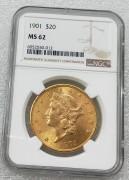 NGC MS62 美国自由女神鹰洋1901年20元大金币 33.43克900金好品相