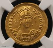 东罗马皇帝阿尔卡迪乌斯索利多金币 NGC评级AU 古钱币