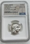 NGC AU 评级-古希腊雅典娜女神和猫头鹰银币 (名誉品) 经典早期银币,17.18克 4德拉克马。
