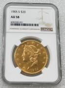 NGC AU58美国自由女神鹰洋1905-S年20元大金币 33.43克900金 好品相