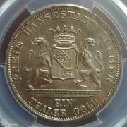【德藏】德国1871年不莱梅自由市胜利泰勒 PCGS MS65