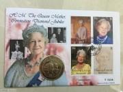 1997年 特克斯凯科斯 女王母亲钻石婚 5克朗 邮币封克朗型