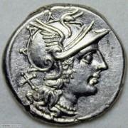 古罗马共和时期罗马女神头像银币