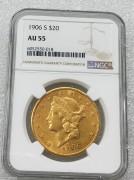 NGC AU55美国自由女神鹰洋1906-S年20元大金币 33.43克900金 好品相